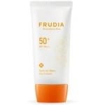 Солнцезащитный крем-праймер с жемчужной пудрой Frudia Tone Up Base Sun Cream SPF50+ PA+++