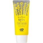 Солнцезащитный крем с цветочными ферментами Whamisa Organic Flowers Sun Cream SPF50+ PA++++