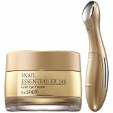 Крем для глаз с вибромассажером The Saem Snail Essential EX 24K Gold Eye Cream Set