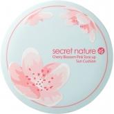 Тональная основа-кушон для лица с экстрактом цветов вишни Secret Nature Cherry Blossom Pink Tone Up Sun Cushion SPF50+/PA++++
