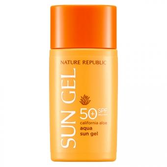 Увлажняющий солнцезащитный гель для лица с алоэ Nature Republic California Aloe Aqua Sun Gel SPF 50+ PA++++