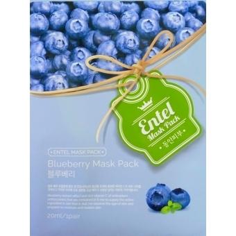 Маска тканевая для лица с экстрактом голубики Entel Blueberry Mask Pack