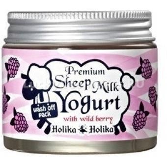 Увлажняющая ночная маска с йогуртом с овечьим молоком (Ягодная) Holika Holika Premium Sheep Milk Yogurt With Wild Berry