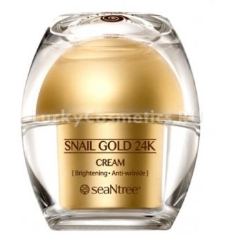 Крем для лица с 24к золотом и экстрактом улитки Seantree Snail Gold 24K Cream