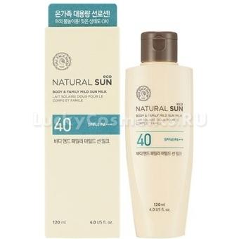 Солнцезащитное молочко для всей семьи The Face Shop Natural Sun Eco Body And Family Mild Sun Milk SPF40 PA+++