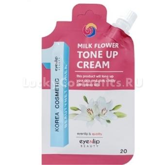 Крем для выравнивания тона кожи с пептидами Eyenlip Pocket Pouch Line Milk Flower Tone Up Cream