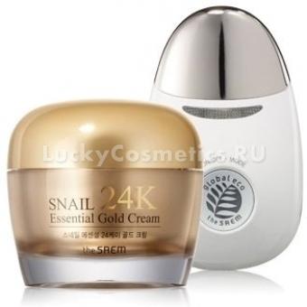 Крем для лица с вибромассажером The Saem Snail Essential 24K Gold Cream Set