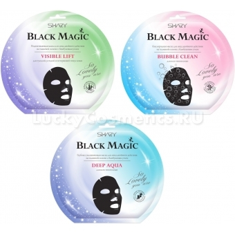 Кислородная маска для лица двойного действия с бамбуковым углем Shary Black Magic Bubble Clean Mask Sheet