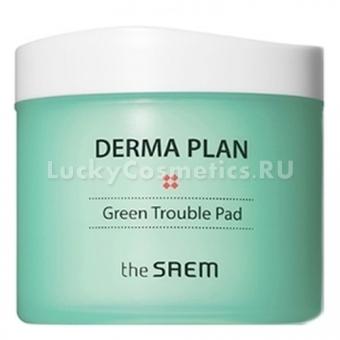 Пилинг-пэды для проблемной кожи The Saem Derma Plan Green Trouble Pad