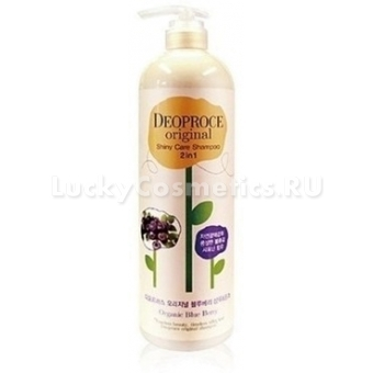 Шампунь+бальзам с черникой Deoproce Original Shiny Care 2 In 1 Shampoo Blueberry