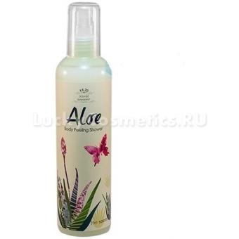 Гель-пилинг для тела с алоэ вера The Saem World Souvenir Aloe Body Peeling Shower