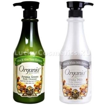 Гель для душа с алоэ и зеленым чаем White Cospharm Organia Aroma Green Body Cleanser