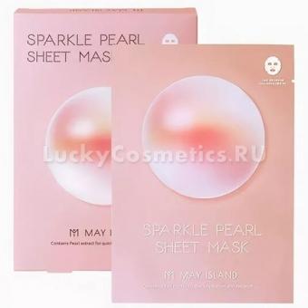 Тканевая маска с жемчугом и гиалуроновой кислотой May Island Sparkle Pearl Sheet Mask