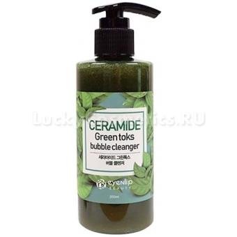 Пузырьковая крем-пенка для умывания Eyenlip Ceramide Green Toks Bubble Cleanser
