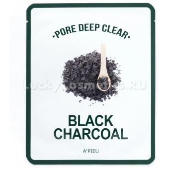 Очищающая тканевая маска для жирной кожи A'PIEU Pore Deep Clear Black Charcoal Mask