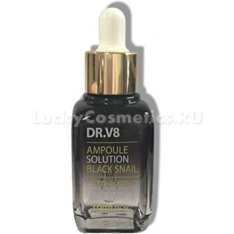 Сыворотка с витаминами и муцином чёрной улитки FarmStay DR-V8 Ampoule SoluTion Black Snail