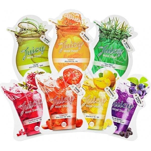 Holika Holika Juicy Mask SheetСерия фруктовых масок Juicy Mask от Holika Holika для решения разнообразных проблем кожи дополнит ваш привычный уход, а яркие сочные ароматы подарят вам хорошее настроение и позитивный настрой на целый день.<br><br>1) Juicy Mask Sheet<br><br>Эта маска содержит фруктовые экстракты, тонизирует и защищает кожу от стресса. Экстракт граната возвращает лицу здоровый румянец и поддерживает тургор кожи, грейпфрут усиливает местный иммунитет и предотвращает возникновение воспалений и акне, кожура апельсина также усиливает барьерные свойства кожи, а абрикос питает ее витаминами и минералами.<br><br>2) Blueberry Mask Sheet<br><br>Ягоды асаи и черника в составе маски борются с первыми признаками старения, укрепляя дермальный матрикс и препятствуя образованию морщин. Виноград содержит фитостеролы, которые регулируют работу сальных желез и налаживают процессы обмена в тканях.<br><br>3) Tomato Mask Sheet<br><br>Отбеливающий уход для кожи. Томатный экстракт осветляет, а ликопен, содержащийся в кожуре томата, является сильнейшим антиоксидантом, защищает кожу от воздействия ультрафиолета и препятствует образованию опухолевых клеток. Лайм, лимон и клубника усиливают осветляющий эффект, питают и увлажняют ткани кожи.<br><br>4) Honey Mask Sheet<br><br>Смягчение и увлажнение для изможденной ежедневными стрессами кожи. Мед &amp;ndash; главный компонент маски, питает кожу, молочные протеины делают ее нежной, а кокос тонизирует. Экстракт лимона обладает осветляющим действием и снабжает клетки витамином С.<br><br>5) Aloe Mask Sheet<br><br>Экстракт алоэ &amp;ndash; главный действующий компонент маски, обладает мощным антибактериальным и ранозаживляющим действием, что делает его незаменимым для проблемной кожи, тростник и огуречный экстракт усиливают эффект и тонизируют кожу.<br><br>6) Tea Tree Mask Sheet<br><br>Мягкое очищение и деликатный уход для чувствительной кожи. Зеленый чай усиливает микроциркуляцию в тканях кожи и усиливает процессы ее восстановления, а р