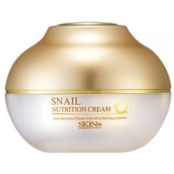 Skin Snail Nutrition CreamКрем марки Skin79 содержит экстракт улиточной слизи, благодаря которому он обладает питательными и восстанавливающими свойствами. Имеет антибактериальное и антивозрастное действие. Cream Snail Nutrition не имеет противопоказаний к применению, он гипоаллергенный. Позволяет устранять растяжки на начальных стадиях их развития, способствует уменьшению морщин. Поможет Вам избавиться от угрей, ожогов и шрамов, улучшит вид кожи при нарушенной пигментации и наличии возрастных пятен.<br><br>Активные вещества крема: экстракт сои и экстракт улиточной слизи. Регулярное использование крема сделает кожу более упругой и гладкой, а также восстанавливает водный баланс. В слизи улитки находится множество полезных веществ, среди которых: натуральные антибиотики, витамины, аминокислоты, коллаген, эластин, аллантоин. Данные вещества позволяют крему глубоко проникать в кожу, тем самым транспортируя туда активные вещества в неизмененном виде. Крем подходит для всех типов кожи.<br><br>&amp;nbsp;<br><br>Объём: 50g<br><br>&amp;nbsp;<br><br>Способ применения:<br><br>На очищенную кожу лица наносить каждый день; при использовании для кожи декольте и шеи наносить 1 или несколько раз в сутки.<br>