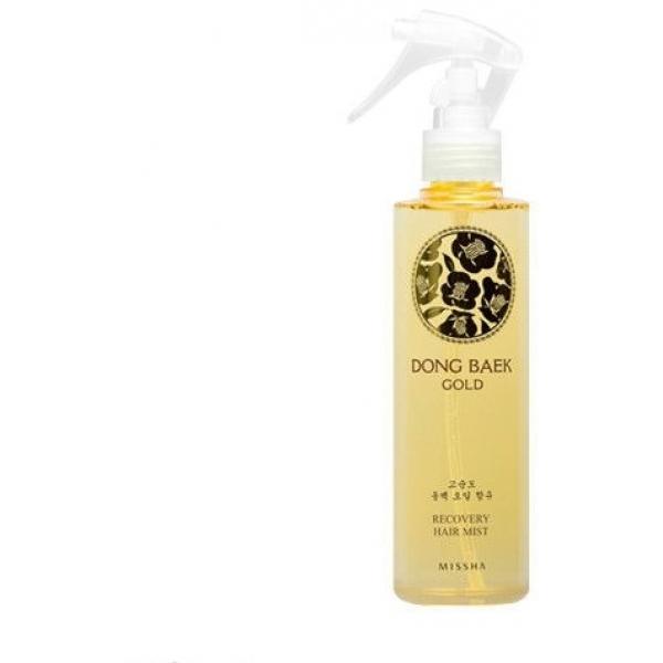 Missha Dong Baek Gold Premium Recovery Hair MistЭто инновация в уходе и восстановлении поврежденных волос. Спрей премиум-класса моментально восстанавливает поврежденные волосы благодаря комплексу масел и экстрактов в составе, в первую очередь &amp;ndash; маслу камелии. Масла жожоба и арганы защищают волос, покрывая его тончайшей пленочкой, а масло камелии восстанавливает волос изнутри. Гилауроновая кислота предотвращает излишнюю сухость волос, а масло арганы удерживает влагу и придает волосам гладкость и эластичность, параллельно защищая от воздействия агрессивных факторов окружающее среды. Уплотняющий комплекс заполняет пустоты внутри волоса, придавая объем и делая волосы ощутимо сильнее. Спрей входит в серию Dong Baek Gold и является одной из трех ступеней в системе восстановления волос. Комплекс восстанавливает волосы изнутри, увлажняет и защищает от разрушительного воздействия ультрафиолетового излучения и других факторов окружающей среды. Экстракт камелии, наряду с маслом, питает кожу головы и предотвращает сухость, шелушение и потерю волос из-за ломкости и недостатка питания. В серию также входит шампунь Dong Baek Gold Premium Shampoo.<br><br>&amp;nbsp;<br><br>Объём: 200 мл<br><br>&amp;nbsp;<br><br>Способ применения:<br><br>Нанести на чистые сухие волосы по всей длине, включая прикорневую зону. Не смывать. Использовать по мере необходимости.<br>