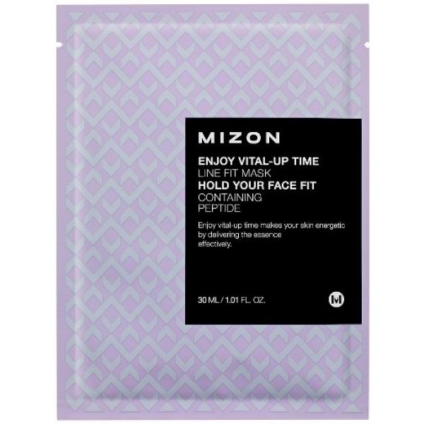 Mizon Enjoy VitalUp Time Line Fit MaskМаска корейской торговой марки Mizon предназначена для подтяжки овала лица. Vital-Up Time Line осуществляет восстановление лицевых контуров, заметно разглаживает микроскопические морщины и обеспечивает качественный уход за кожей.<br>Действующий компонент маски – совокупность пептидов, которая успешно борется с усталостью и увяданием кожи лица. Она обильно увлажняет кожу, оказывая стимулирующее влияние на образование природного коллагена и гиалуроновой кислоты и налаживая нормальную деятельность сальных желез. Пептиды провоцируют восстановление процессов, воздействуя на кожу на клеточном уровне. Результатом использования маски является гладкая, эластичная кожа естественного здорового цвета. Воздействие пептидного комплекса усиливают другие компоненты, которые насыщают влагой клетки, глубоко проникая в эпидермис.<br>Enjoy Fit Mask подходит для кожи сухого типа с признаками увяданияОбъём: 30 мл.Способ применения:После тщательного очищения необходимо тонизировать кожу и наложить маску. По истечению 15-20 минут ее необходимо снять, а остатки втереть в кожу.<br>