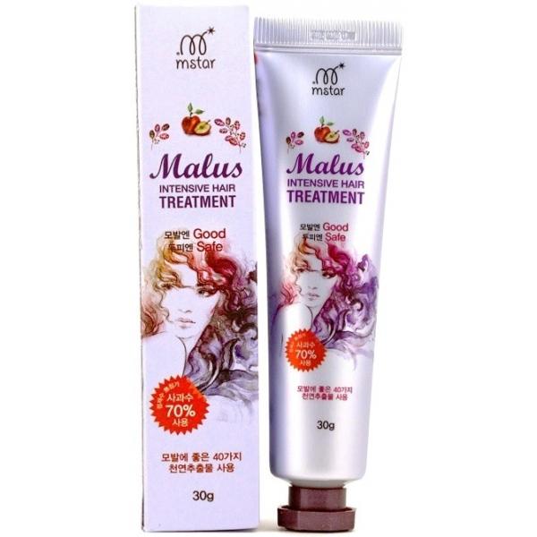 Mstar Malus Intensive Hair TreatmentРеволюционно новая формула в создании средств по уходу за волосами была использована в интенсивно восстанавливающей маске для волос Malus Intensive Hair Treatment.<br><br>Продукт был разработан на основе яблочной воды с применением более чем 40 различных природных растительных экстрактов, которые в сочетании оказывают умопомрачительный эффект даже на самые изможденные множеством окрашиваний и сожженных утюжками и плойками волосы.<br><br>Яблочный экстракт делает волосы более гладкими, придавая им суперблеск и эластичность. Помогает избавиться от появления перхоти, зуда, надолго сохраняя свежесть головы. Борется с сечением и ломкостью. Обеспечивает многоуровневое увлажнение и питающее действие.<br><br>&amp;nbsp;<br><br>Объём: 30 гр.<br><br>&amp;nbsp;<br><br>Способ применения:<br><br>Маска наноситься на свежевымытые влажные волосы на всю длину. Рекомендуется обернуть волосы в целлофановый пакет, укутав голову полотенцем, и произвести прогревающую процедуру посредством фена. Смыть маску спустя 5-6 мин.<br>