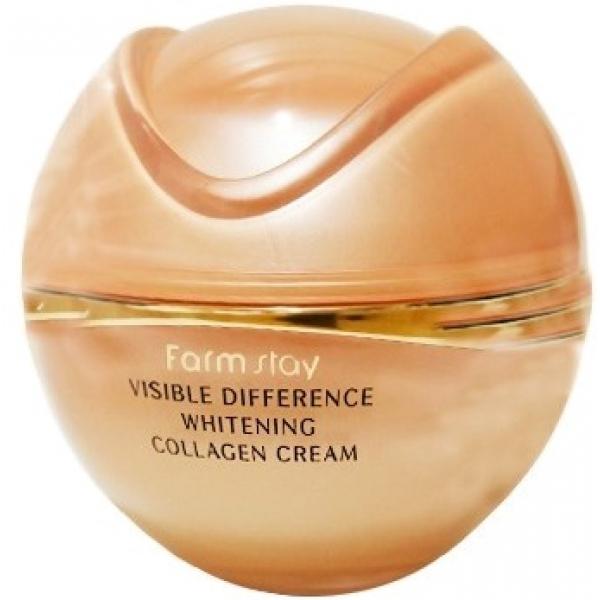 Farmstay Visible Difference Whitening Collagen CreamОсветляющий крем с добавкой коллагена и арбутина сочетает два полезных эффекта &amp;ndash; пролонгированное увлажнение и отбеливание. При этом крем оказывает глубокое воздействие, влияя на синтез меланина в клетках кожи, а не только чисто визуальный результат. Коллаген способствует удержанию влаги, восстанавливая тургор кожи и придавая ей свежий отдохнувший вид. Проникая в дермальный матрикс, коллаген стимулирует выработку собственных увлажняющих веществ, восстановление естественного коллагенового каркаса.<br><br>Арбутин представляет собой экстракт толокнянки или шелковицы, именно благодаря этому компоненту веснушки, постакне и возрастная пигментация осветляется, становится незаметной, выравнивается тон кожи в целом. Эти перемены не временные, как при использовании тонального крема или консилера, но касаются здоровья кожи на клеточном уровне.<br><br>&amp;nbsp;<br><br>Объём: 50 г<br><br>&amp;nbsp;<br><br>Способ применения:<br><br>Крем наносят на очищенную с применением гидрофильного масла и геля для умывания кожу. Увлажняющий крем согласно азиатской системе ухода используют на коже после более легких текстур &amp;ndash; жидких тоников и лосьонов. После этого можно наносить декоративную косметику.<br>