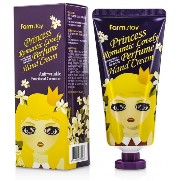 Farmstay Princess Romantic Lovely Perfume Hand CreamУвлажняющий крем с тонким ароматом из &amp;laquo;принцессной&amp;raquo; серии от Farmstay сохранит молодость кожи рук и сделает их нежными и шелковистыми как у настоящей леди. На упаковке изображена мультяшная принцесса-блондиночка, из-за чего крем выглядит как стильная вещица и наверняка вызовет заинтересованные взгляды ваших подруг и коллег.<br><br>Действующие компоненты средства &amp;ndash; коллаген, экстракт зеленого чая и алоэ. Сок алоэ-вера &amp;ndash; идеальное регенерирующее средство, которое не только заживляет травматические повреждения кожи, но и способствует разглаживанию морщин и кожных заломов.<br><br>Зеленый чай укрепляет стенки сосудов, из-за чего улучшается микроциркуляция и питание кожи.<br><br>Коллаген задерживает влагу в эпидермисе, делая кожу упругой, защищает от сухости и шелушений, предотвращая дегидратацию. Кроме того, искусственный коллаген, содержащийся в средстве в качестве увлажнителя, стимулирует выработку собственного коллагена, что дает пролонгированный эффект.<br><br>&amp;nbsp;<br><br>Объём: 80 г<br><br>&amp;nbsp;<br><br>Способ применения:<br><br>Нанесите на ладонь немного крема и помассируйте руки, уделяя внимание каждому пальчику. Распределите крем по тыльной стороне кисти, которая склонна к сухости и вотрите его в основание ногтевой пластины, чтобы избавиться от заусенцев и облегчить процедуру маникюра, а также укрепить ногти.<br>