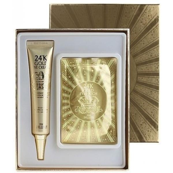 Baviphat Urban Dollkiss Agamemnon K Gold Eye Cream Special KitПодарить своей коже поистине драгоценный уход можно с помощью набора Agamemnon 24K Gold, в составе которого присутствует 24-каратное золото. Этот необычный ингредиент выполняет сразу несколько задач:<br><br><br>улучшает микроциркуляцию;<br>способствует выведению вредных веществ;<br>стимулирует обновление;<br>насыщает клетки кожи кислородом;<br>повышает усвояемость активных компонентов крема.<br><br><br>В набор входит крем и патчи. Их действующие вещества одинаковы и направлены на оздоровление и омоложение уязвимой кожи вокруг глаз. Единственным отличием, которым обладают патчи, является целенаправленное воздействие на кожные покровы ниже глаз. Их эргономичная форма позволяет максимально комфортному расположению и особому эффекту: избавлению от темных кругов и отечности.<br><br>&amp;nbsp;<br><br>Объём: 40 гр крема, 2 патча<br><br>&amp;nbsp;<br><br>Способ применения:<br><br>Наносить крем на нижние и верхние веки. Патчи размещают под глазами и оставляют на двадцать минут.<br>
