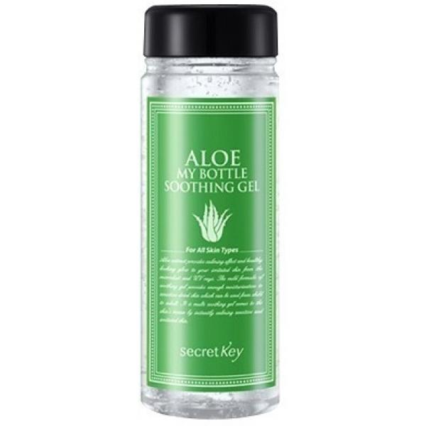 Secret Key Aloe My Bottle Soothing GelСуперувлажняющий освежающий гель с многофункциональной основой включает полезные растительные компоненты, соки и вытяжки, обеспечивающие невероятный лечебный косметический эффект.<br><br>Прозрачный гель находится в удобной баночке, имеющей внушительный объем, позволяющий опробовать различные варианты его применения.<br><br>Гель с соком алоэ Secret Key Aloe My Bottle Soothing Gel может быть использован в качестве:<br><br>&amp;uuml; Увлажняющего ежедневного крема;<br><br>&amp;uuml; Основы под макияж;<br><br>&amp;uuml; Маски для кожи лица, а также кожи век;<br><br>&amp;uuml; Уходового средства для кутикулы;<br><br>&amp;uuml; Геля после бритья;<br><br>&amp;uuml; Противораздражающего средства после загара и прочих раздражений кожи.<br><br>Экстракт алоэ призван ухаживать за иссушенной, нежной кожей, требующей бережного обращения. Идеален для чувствительной кожи.<br><br>&amp;nbsp;<br><br>Объём: 245 мл<br><br>&amp;nbsp;<br><br>Способ применения:<br><br>В зависимости от формата использования нанести средство на кожу, мягко втирая, обеспечив тем самым легкость усвоения и впитывания кожей.<br>