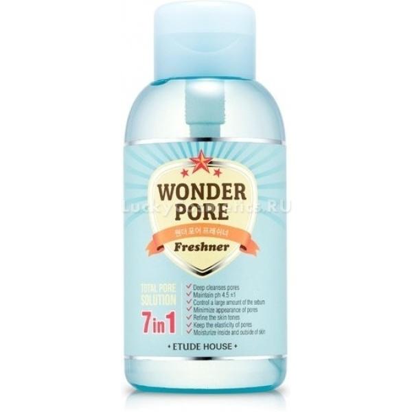 Etude House Wonder Pore Freshner  mlТонер Wonder Pore Freshner это часть одноименной серии, предназначенной для профессионального ухода за проблемной и ослабевшей кожей. Средство сочетает в себе множество полезных компонентов, таких как экстракт хризантемы, кипариса, одуванчика, которые эффективно ухаживают за кожей и насыщают ее необходимыми элементами для укрепления и защиты от внешних воздействий.<br><br>Безопасная формула продукта не содержит: продуктов животного происхождения, талька, ароматизаторов и искусственных красителей, минерального масла и парабенов. Средство достаточно бережно относится к коже и не имеет запаха. Подходит для использования на чувствительной коже.<br><br><br>Экстракт хризантемы насыщен высоким содержанием витаминов Е и С, а также микроэлементами для поддержания здоровой жизнедеятельности нашей кожи: цинк, магний, селен, кремний, калий, фосфор. Благодаря эфирным масла, аскорбиновой кислоте, ниацину и рибофлавину, хризантема отличный источник молодости кожи и организма в целом.<br>Экстракт кипариса имеет мощное бактерицидное действие, устраняет всевозможные воспаления на лице, обладает вяжущим действием, тонизирует, освежает и матирует кожу. Заживляющие свойства кипарисового масла эффективно заживляют раны, порезы, ушибы, стимулирует кожу на быстрое и эффективное восстановление.<br>Экстракт одуванчика обладает выраженным противовоспалительным и бактерицидным действием. Эффективно отбеливает кожу, омолаживает ее и придает ей эластичность. Помимо всего одуванчик насыщен увлажняющими и питательными веществами. Экстракт растения весьма эффективен при лечении экземы.<br><br><br>Действие тонера заключается в следующем:<br><br><br>Дает эффективное увлажнение.<br>Повышает тургор кожи.<br>Выравнивает и освежает цвет лица.<br>Минимизирует поры.<br>Предотвращает излишние сальные выделения.<br>pH нейтрален.<br>Эффективно вычищает поры.<br><br><br>Бутылка средства имеет большой объем, что обеспечивает его длительное использование. Оснащение сосуда спец