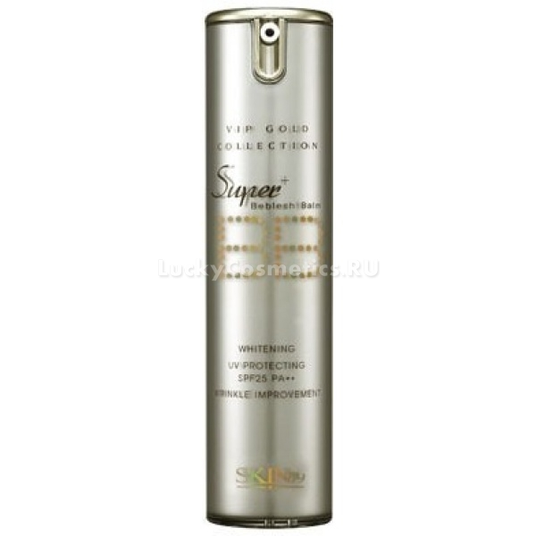 Skin Vip Gold Super Plus Beblesh Balm gSKIN79 VIP Gold Super Plus Beblesh Balm SPF25 &amp;ndash; крем представлен в золотом тюбике, имеет самую высокую кроющую способность, маскирует даже самые видимые изъяны на коже, подходит для использования на сухой и нормальной коже. В основе состава присутствуют микрочастицы золота и экстракт красной икры, арбутин и аденозин оказывают активное воздействие на возрастные изменения кожи, подтягивают, уплотняют и омолаживают ее.<br><br>&amp;nbsp;<br><br>Объём: 15 г.<br><br>&amp;nbsp;<br><br>Способ применения:<br><br>На чистую и подготовленную кожу нанести крем, распределить равномерно по лицу и растушевать при помощи кисти, спонжа или кончиков пальцев. Смывать продукт следует исключительно гидрофильным маслом, или любым другим средством, предназначенным для удаления бб кремов.<br>