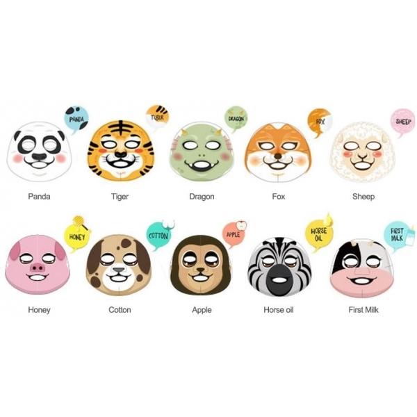 The Face Shop haracter MaskМаски-салфетки &amp;ndash; одни из самых популярных в Азии. Ими пользуются даже мужчины. В тканевой маске сочетается любовь корейцев к этому виду косметического продукта и к различным забавным животным. Обычные подобные салфетки имеют вид обычной белой маски. Сharacter Mask выполнены в виде мордочек животных. Они идеально подходят для того, чтобы устроить вечер ухода за собой вместе с подругами или любимым человеком.<br><br>Красители являются абсолютно безопасными для кожи, цвета не переносятся на кожу и не вредят ей. Мордочки животных напечатаны только на внешней стороне салфетки.<br><br>Компоненты в составе глубоко ухаживают за кожей. При регулярном применении тканевой маски от The Face Shop можно добиться таких результатов:<br><br><br>увлажнить кожу;<br>предупредить возрастные изменения;<br>устранить воспаления;<br>убрать шелушения и чувство стянутости;<br>выровнять тон лица.<br><br><br>Выбор персонажей достаточно широк:<br><br><br>Дракон;<br>Зебра;<br>Обезьяна;<br>Санта Клаус;<br>Тигр;<br>Собака;<br>Рождественский олень Рудольф.<br><br><br>&amp;nbsp;<br><br>Объём: 23 гр.<br><br>&amp;nbsp;<br><br>Способ применения:<br><br>Очистите кожу лица и просушите ее. Аккуратно достаньте маску из упаковки. Приложите маску к лицу и расправьте ее. Сторона с принтом должна быть с внешней стороны и не соприкасаться с лицом. Через 20-25 минут снимите салфетку. Остатки средства должны самостоятельно впитаться в кожу через некоторое время. Маску возможно использовать повторно. Для этого аккуратно сложите ее обратно в пакет и герметично закройте его, чтобы эссенция на ткани не высохла.<br>