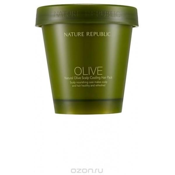 Nature Republic Natural Olive Scalp Cooling Hair PackМаска для кожи головы и волос от корейского бренда Nature Republic способствует интенсивному уходу за кожей головы и волосами с легким освехающим эффектом. Она входит в коллекцию средств по уходу за волосами Natural Olive, которая изготовлена на основе оливкового масла.<br><br>Оливковое масло в составе маски придает волосам силу, натуральный блеск, интенсивно питает их, восстанавливает, делает более прочными, гладкими и послушными. Оно активизирует процесс роста волос, ухаживая за кожей головы и укрепляя волосяные фолликулы. Волосы становятся гуще, они приобретают надежную защиту от негативного воздействия свободных радикалов окружающей среды.<br><br>Scalp Cooling Hair Pack обладает также мягким скрабирующим действием, удаляя мертвые клеточки с поверхности кожи головы. Это способствует глубокому очищению кожи и более интенсивному проникновению компонентов маски в кожный покров.<br><br>Благодаря наличию в составе продукта таких натуральных освежающих компонентов, как мята, чайное дерево, розмарин, активизируются все внутриклеточные процессы и кожа приобретает ощущение прохлады и свежести.<br><br>&amp;nbsp;<br><br>Объём: 200 мл.<br><br>&amp;nbsp;<br><br>Способ применения:<br><br>Наносить маску на волосы после мытья головы, равномерно распределить и оставить на 5-10 минут. После процедуры смыть при помощи теплой воды.<br>