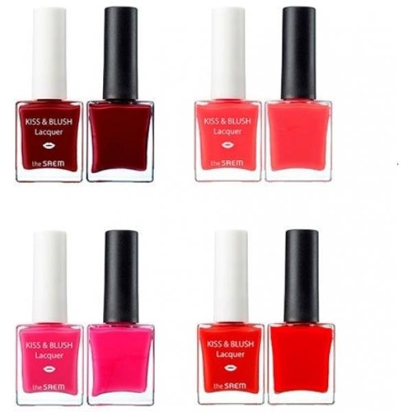 Набор лак для ногтей   блеск для губ и румяна The Saem Kiss And Blush Lacquer And Kissholic Nails