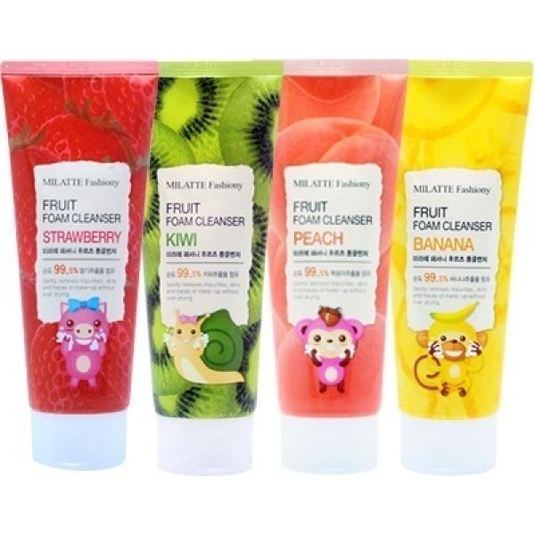 Milatte Fashiony Fruit Foam CleanserФруктовая пенка для умывания Milatte Foam Cleanser имеет богатый растительный и увлажняющий состав, а также комплекс фруктовых кислот, которые, взаимодействуя с кожей, отбеливают ее и насыщают витаминами, повышая иммунные показатели и защитные функции эпидермиса.<br><br>Fashiony Fruit&amp;nbsp;мягко отшлифовывает кожный покров, разглаживая морщины и избавляя поры от скопления омертвевших частичек эпителиальной ткани. При этом фруктовый экстракт улучшает приток крови, что заметно преображает цветовые характеристики кожи.<br><br>Гиалуроновая кислота выступает в образе натурального увлажнителя, имея свойство наполнять клетки кислородом и влагой, создавая на поверхности многоуровневый барьер, противоборствующий неблагоприятным внешним погодным факторам, надолго задерживая полезные компоненты и воду в клетках, продлевая чувство комфортного увлажнения и свежести.<br><br>Семена чиа кладезь омега-3-жирных кислот, микроэлементов, витаминов, способствует очищению кожи от тяжелых загрязнений, обладает заживляющими свойствами, так как является естественным антибиотиком.<br><br>&amp;nbsp;<br><br>Объём: 150 мл<br><br>&amp;nbsp;<br><br>Способ применения:<br><br>Немного пенки растереть в ладошках и нанести на смоченную водой кожу, выполняя массаж, уделяя особое внимание проблематичным участкам. После процедуры необходимо тщательно умыться.<br>