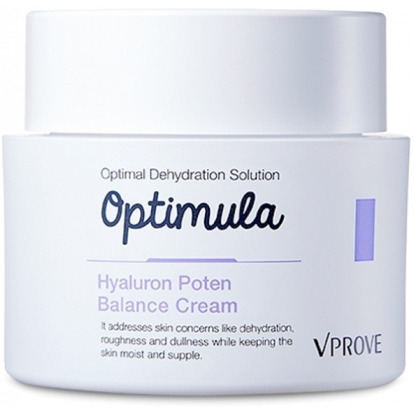 Vprove Optimula Hyaluron Poten Balance CreamЕсли увлажнения от миста и ухаживающих компонентов тональных средств недостаточно, и вы ощущаете дискомфорт, стянутость кожи, замечаете на ней шелушения – используйте увлажняющий крем с гиалуроновой кислотой. Его легкая текстура подходит для использования на капризной чувствительной кожи, не утяжеляет ее и надежно защищает от обезвоживания.<br>Увлажняющего эффекта активных компонентов крема достаточно, чтобы даже сухая кожа выглядела тонизированной и сияющей. Средство актуально и зимой, когда шелушения и другие признаки нарушения гидробаланса заметны даже на нормальной коже. Также крем выручит в период летних отпусков – пантенол в его составе минимизирует термические повреждения кожи, которая слишком долго находилась под воздействием солнечных лучей.<br>Женьшень – антиэйдж-компонент, который в восточных странах считается главным секретом вечной молодости. Его экстракт в составе крема способствует сохранению свежести и эластичности кожи, продлевает жизненный цикл клеток и наполняет их энергией.Объём: 50 мл.Способ применения:Крем распределяют подушечками безымянных пальцев по чистому лицу, ориентируясь на массажные линии. Наносить под декоративную косметику днем или после умывания на ночь для  поддержания гидробаланса кожи.<br>