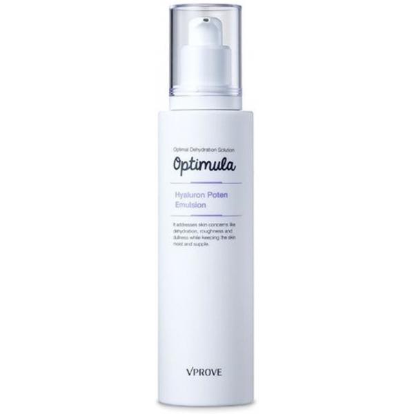 Vprove Optimula Hyaluron Poten EmulsionЭмульсия средство легкой текстуры, которое наносят на кожу в качестве спецухода, если увлажняющего эффекта миста недостаточно. Ее состав богаче, чем у пенки и тонера, так как эмульсия выполняет более специализированную задачу по уходу за кожей – обеспечивает ее пролонгированное увлажнение.<br>В составе средства не только универсальный компонент для поддержания гидробаланса – гиалуроновая кислота или гиалуронка, которую также используют в косметологических процедурах против морщин. Кроме того эмульсия содержит яблочный экстракт, стимулирующий обмен веществ в клетках и процессы обновления эпидермиса.<br>Эмульсия не только увлажняет, но и питает кожу – масло ши и абрикосовых косточек доставляет витамины в клетки, смягчает эпидермис и обеспечивает защиту от окислительного стресса за счет антиоксидантов. Портулак в тандеме с экстрактом женьшеня дарят коже тонус и энергию – этот эффект можно ощутить сразу после нанесения эмульсии.Объём: 125 мл.Способ применения:Умойтесь с пенкой и обработайте кожу тонером. Далее подушечками пальцев распределите по лицу эмульсию, а после ее полного впитывания наносите косметику. Что касается вечернего ухода за кожей, последовательность этапов такая же, но после эмульсии наносят средства более плотной текстуры – ночной крем или слипинг пак.<br>