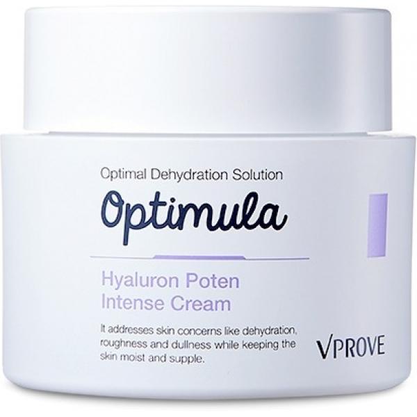 Vprove Optimula Hyaluron Poten Intense CreamКрем с гиалуроновой кислотой предназначен для восстановления истощенной обезвоживанием кожи. Он подойдет обладательницам сухой и чувствительной, тусклой кожи с ранними признаками старения, зудом либо шелушениями.<br>Сеточка мелких морщин, серый или бледный цвет лица, шелушения и раздраженные участки с покраснениями выдают кожу с нарушенным гидробалансом. Восстановить ее здоровье помогут средства гиалуроновой серии, направленные на причину всех этих негативных явлений – чрезмерную потерю влаги.<br>Гиалуроновая кислота усиливает естественный барьерный слой кожи, препятствующий испарению влаги. Масло ши смягчит огрубевшие участки, бетаин и бета-глюкан уберут раздражения. Женьшень запустит процессы синтеза в клетках, стимулируя производство собственной гиалуроновой кислоты.Объём: 50 мл.Способ применения:Наносить на кожу после умывания, тонизирования и применения эмульсии. Распределить подушечками пальцев, уделяя внимание огрубевшим участкам и сухой тонкой коже в области шеи.<br>