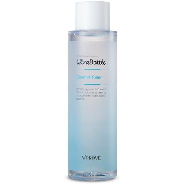 Vprove Ultra Bottle Comfort TonerОсвежающий тонер с экстрактом мяты безопасен для использования даже на гиперчувствительной коже. Его формула направлена на глубокое увлажнение, смягчение кожи и ее тонизирование в течение дня. Бета-глюкан снимает воспаления и убирает покраснения после умывания, перечная мята укрепляет капилляры и подготавливает кожу к нанесению макияжа.<br>Женьшень в составе увлажняющего тонера стимулирует самообновление эпидермиса, защищает клетки от преждевременного старения.<br>В комплексном уходе за кожей тонер усиливает ее проницаемость для компонентов лечебной косметики, концентрированной сыворотки или эссенции. При регулярном использовании восстанавливает естественные защитные барьеры эпидермиса, делая его менее уязвимым к воздействию ультрафиолета и климатических перепадов.Объём: 200 мл.Способ применения:Наносить тонер можно двумя способами – приложить ладони, на которые предварительно нанесли средство, к влажному после умывания лицу или же распределить его по массажным линиям с помощью хлопкового диска.<br>