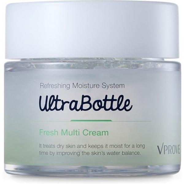 Vprove Ultra Bottle Fresh Multi CreamКрем с легчайшей текстурой на основе слезного флюида тает на коже и впитывается за пару секунд после нанесения. Его компоненты проникают глубоко в дерму и сохраняют там воду, спасая кожу от сухости и ранних морщин.<br><br>Многофункциональное средство на основе натуральных экстрактов капусты, алоэ, мелиссы и женьшеня можно использовать не только для интенсивного увлажнения кожи после очищения пенкой, но и как успокаивающее средство в процедуре домашнего пилинга. Смягчает и охлаждает кожу после длительного пребывания на солнце, предотвращая фотостарение.<br><br>Гель-крем легко усваивается благодаря тому, что все его активные ингредиенты растворены в ледниковой воде. Она биологически совместима с тканями дермы и усиливает обменные процессы на клеточном уровне.<br><br>&amp;nbsp;<br><br>Объём: 100 мл.<br><br>&amp;nbsp;<br><br>Способ применения:<br><br>Крем наносят под макияж после умывания и тонизирования. Достаточно одного применения утром, чтобы избавить кожу от дискомфорта и сухости на весь день.<br>