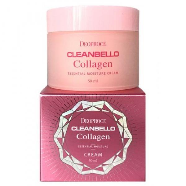 Крем для лица с коллагеном Deoproce Cleanbello Collagen Essential Moisture CreamКрем предназначен для любого типа кожи, подходит для дневного и вечернего использования.<br><br>Крем является антивозрастным. В составе Cleanbello Moisture Creamсодержится гидролизованный коллаген, являющийся сильным блокатором в борьбе с возрастными изменениями кожи. Также средство интенсивно увлажняет ее, защищает от внешнего воздействия, делает более эластичной и подтянутой. Кроме этого, Collagen Essential обеспечивает питание, необходимое для поддержания здоровья и красоты.<br><br>&amp;nbsp;<br><br>Объём: 50 мл.<br><br>&amp;nbsp;<br><br>Способ применения:<br><br>Нанести на очищенную кожу лица утром и/или вечером<br>