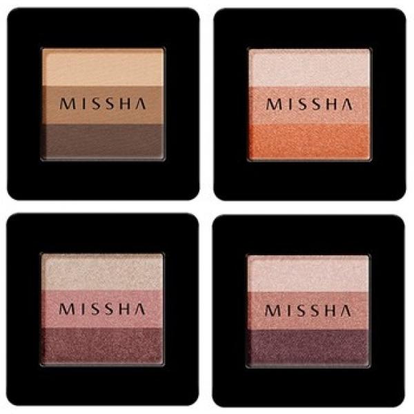 Missha Triple ShadowДля создания красивого макияжа глаз воспользуйтесь трехцветными тенями от Missha. Оттенки Triple Shadow подобраны идеально, и они, без сомнения, помогут вам выглядеть отлично.<br><br>С этими компактными тенями вы сможете экспериментировать и в полной мере проявить собственную творческую натуру. Смешивайте оттенки в разных пропорциях, чтобы создавать плавные градиенты. Органично соседствующие друг с другом цвета &amp;ndash; как раз то что надо.<br><br>Эти тройные тени украшает легкий шиммер. Таким образом, вы сможете создавать и праздничные, яркие образы, применяя этот косметический продукт.<br><br>Наносить эти тройные тени удобно. Вам не понадобятся аппликаторы (хотя при желании, конечно же, вы сможете их использовать). Наносить тени можно и просто пальцем.<br><br>Еще один замечательный плюс этого средства &amp;ndash; натуральные компоненты в составе. Морской коллаген, натуральные масла и цветочные экстракты сделают все, чтобы сохранить вашу кожу красивой, молодой и здоровой.<br><br>Эти роскошные тени станут ярким акцентом в созданном вами идеальном макияже.<br><br>&amp;nbsp;<br><br>Объём: 2 г<br><br>&amp;nbsp;<br><br>Способ применения:<br><br>Нанесите тени, смешивая цвета, на подвижное веко и растушуйте.<br>