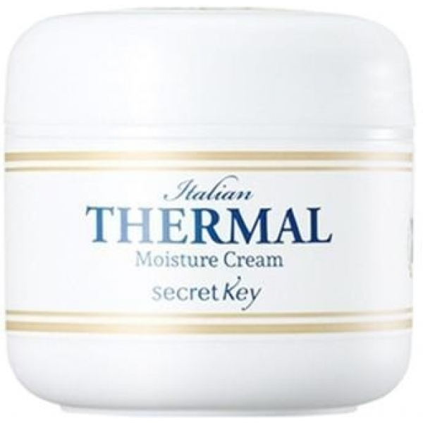 Secret Key Italian Thermal Moisture CreamУвлажняющий крем от Secret Key основан на использовании итальянских термальных вод, которые во все времена использовались для профилактики и лечения множества болезней. Их благотворное влияние на кожу подтверждено многими веками.<br><br>Термальная вода прекрасно увлажняет клетки кожи, успокаивает и тонизирует поверхность. Она способствует ускорению процессов регенерации и снятию всевозможных воспалений. Включенный с состав крема коллаген разглаживает морщины, делая кожу более эластичной и упругой.<br><br>Также средство включает в себя гиалуроновую кислоту, которая связывает воду внутри клеток кожи и не дает ей быстро испаряться. Благодаря такому решению снимается проблема обезвоживания тканей, а значит и их преждевременного старения. Эта же кислота способствует выработке собственного коллагена.<br><br>Были применены и масла растительного происхождения. Интенсивная витаминизация и увлажнения &amp;ndash; результат воздействия экстрактов сладкого миндаля, авокадо, жожобы и риса. Эти элементы состав помогают сделать поверхность мягкой и бархатистой, а также избавиться от ороговевших частичек.<br><br>&amp;nbsp;<br><br>Объём: 50 мл<br><br>&amp;nbsp;<br><br>Способ применения:<br><br>После очищения кожи и использования прочих уходовых средств массирующими движениями нанести данный крем на поверхность лица.<br>