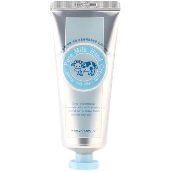 Восстанавливающий крем для рук Tony Moly Pure Milk Hand CreamИнтенсивно увлажняющий крем от компании Tony Moly создан специально для сохранения красоты и молодости нежной кожи рук, которая нуждается в таком же тщательном уходе, как кожа лица. В составе косметического продукта содержатся такие ценные компоненты, как масла оливы и жожоба, а также белок молока.<br><br>Оливковому маслу в составе восстанавливающего крема для рук отведена главная роль &amp;ndash; глубокое питание и увлажнение дермы. Его волшебные свойства позволяют за короткое время вернуть рукам молодость и красоту. Регулярное использование крема позволит предотвратить преждевременное старение, а также снизить влияние на кожу вредных факторов.<br><br>Масло жожоба проникает в самые глубокие слои кожи и восстанавливает ее изнутри. После использования ухаживающего крема кожа не пересушена, поскольку в составе не содержится спирт. Он идеально подойдет даже обладательницам очень сухой, обезвоженной кожи рук, избавив ее от небольших трещинок и шелушений. Крем обладает приятной текстурой и ненавязчивым легким ароматом.<br><br>&amp;nbsp;<br><br>Объём: 80 гр<br><br>&amp;nbsp;<br><br>Способ применения:<br><br>Наносить крем следует на сухую кожу рук. Втирать аккуратными движениями, особое внимание уделяя ногтевым пластинам и кутикулам. Оставить до полного впитывания.<br>