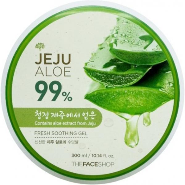 The Face Shop Jeju Aloe Fresh Soothing GelАлоэ-гель представляет из себя незаменимый продукт для ухода за всеми типами эпидермиса. Универсальное средство, оно может применяться как для кожи лица, так и всего тела, а его нанесение обеспечит мгновенное ощущение комфорта и увлажненности. Продукт обладает легчайшей текстурой, которая исключает даже малейшую липкость. При распределении он всего за несколько секунд проникает в кожу, не оставляя никаких неприятных следов. Гель содержит в своей формуле 99% сока алоэ вера, что обеспечивает его мощнейшее оздоравливающее действие. Универсальность продукта просто поражает, ведь он может использоваться как в качестве увлажняющего средства для лица и тела, так и применяться для ухода за волосами, областью глазного контура, а также как успокаивающее и противоожеговое средство после пребывания на солнце. Его использование подарит коже мгновенный комфорт, увлажненность, устранение раздражений, бактерицидный и антивоспалительный эффект. Это средство является идеальным для всей семьи! Побалуйте вашу кожу эффективным уходом, применяя этот гель с содержанием алоэ от The Face Shop!<br><br>&amp;nbsp;<br><br>Объём: 300 мл<br><br>&amp;nbsp;<br><br>Способ применения:<br><br>Средство необходимо применять на чистой коже тела и лица, распределяя его при помощи нежных движений до полного впитывания.<br>