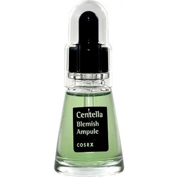 CosRX Centella Blemish AmpuleСыворотка точечного действия Centella Blemish Ampule &amp;minus; настоящая находка для обладательниц чувствительной кожи, склонной к покраснениям, раздражениям и куперозу. Ее основные действующие ингредиенты: водный настой и экстракт листьев центеллы азиатской. Вместе они укрепляют сосуды в коже, улучшают микроциркуляцию, снимают напряжение мимических мышц, уничтожает патогенную микрофлору. Центелла азиатская известна также как омолаживающий компонент. Она повышает синтез фибриллярных белков на 30% (структурных единиц соединительной ткани), благодаря чему кожа сохраняет упругость и тонус.<br><br>Усиливают действие сыворотки аргинин, гиалуроновая кислота, бетаин, аллантоин. Они поддерживают основные функции кожных покровов, улучшая их общее состояние благодаря полноценному питанию, увлажнению и очищению.<br><br>&amp;nbsp;<br><br>Объём: 20 мл<br><br>&amp;nbsp;<br><br>Способ применения:<br><br>На подготовленную кожу точечно нанести несколько капель сыворотки, похлопать подушечками пальцев.<br>