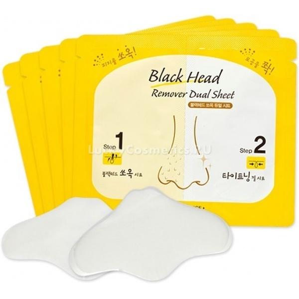 Etude House Black Head Remover Dual SheetГлавной причиной возникновения воспалений на коже лица, это закупоренные поры. Несвоевременное высвобождение их от излишков жизнедеятельности кожи приводит к образованию сыпи и акне. Несомненно, правильный подход к ежедневному уходу за кожей, залог неотразимой и безупречной внешности. Одним из весьма полезных продуктов для ухода за лицом, является набор для удаления черных точек и сужения пор Black Head Remover Dual Sheet<br><br>Набор включает в себя два вида патчей: тканевый &amp;ndash; для избавления от черных точек, и гелевый &amp;ndash; для сужения пор и успокоения раздраженной кожи. Двухэтапный комплекс эффективно удаляет комедоны а также сужает поры, выравнивая текстуру и цвет кожи.<br><br>Содержание в составе средств фруктовых кислот и целебных травяных вытяжек. Кислоты обеспечивают коже носа мягкий пилинг, удаление омертвевших клеток и содержания пор, а экстракты трав работают против различных воспалений и успокаивают покрасневшую кожу.<br><br>Действие 1: тканевый пластырь для удаления комедонов, вытягивает все содержание пор и удаляет их с поверхности кожи. Благодаря виноградному, лимонному и апельсиновому экстрактам кожа приобретает необычайную гладкость, чистоту и свежесть.<br><br>Действие 2: гелевый патч призван сужать уже очищенные поры для предотвращения дальнейшего попадания в них грязи. Травяные экстракты обеспечивают коже необходимый уход, питают и успокаивают ее. Охлаждающий эффект пластыря работает на быстрое сужение пор. Экстракты перечной мяты, лаванды и розмарина обеспечивают кожу всеми необходимыми питательными компонентами.<br><br>&amp;nbsp;<br><br>Объём: очищающий пластырь 1шт*3мл; гелевый пластырь 1шт*1,2гр.<br><br>&amp;nbsp;<br><br>Способ применения:<br><br><br>Снимите защитную пленку с тканевого очищающего пластыря.<br>Наклейте его на предварительно выпаренную кожу носа. Наиболее простой способ подготовить ее, это наложить на кожу очень теплое полотенце на несколько минут.<br>По истечении 15 минут 