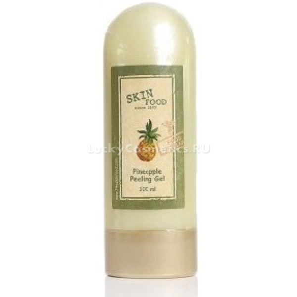 Skinfood Pineapple peeling gelГлубоко очищающий пилинг-скатка Skinfood Pineapple peeling gel с экстрактом ананаса, алоэ, яблока и портулака оказывает нежное и эффективное отшелушивающее действие на кожу лица. Ананасовый пилинг прекрасно справляется с забитыми порами, глубоко очищает их, осветляет пигментные пятна, снимает шелушения, разглаживает кожу, придает лицу ровный и здоровый цвет. Растительные экстракты средства благоприятно действуют на кожу, насыщают ее необходимым питанием и увлажнением.<br><br>Действующие ингредиенты пилинга:<br><br><br>Экстракт алоэ вера &amp;ndash; ускоряет обновление кожи, стимулирует кровообращение, очищает, обеззараживает, и успокаивает ее, насыщает необходимой влагой и питательными веществами, поддерживает кожу в тонусе.<br>Экстракт ананаса &amp;ndash; содержит в большом количестве фруктовые кислоты кислоты, которые эффективно отшелушивают кожу, освобождая ее от лишнего слоя омертвевших клеток, осветляют ее, обеспечивают упругость, эластичность и здоровое сияние кожи.<br>Яблочный экстракт &amp;ndash; насыщает кожу питательными веществами, смягчает, увлажняет и тонизирует ее, успокаивает, снимает покраснения и раздражения, препятствует иссушению кожи, устраняет шелушения. Питательные вещества и витамины, содержащиеся в яблоке, способствуют образованию эластина и коллагена, важного элемента для восстановления и укрепления структуры кожи. Биофлавоноиды повышают защитный барьер от различного рода разрушающих факторов, в том числе и УФ лучей. Фруктовая кислота мягко отшелушивает кожу, обновляет, омолаживает, придает сияние и здоровый оттенок коже.<br>Экстракт портулака &amp;ndash; повышает естественную защиту кожи, уменьшает мимические морщины и препятствует образованию новых, способствует защите коллагеновых волокон от разрушающих факторов.<br><br><br>&amp;nbsp;<br><br>Объём: 100 мл.<br><br>&amp;nbsp;<br><br>Способ применения:<br><br><br>На чистую кожу лица, нанесите средство-пилинг и начинайте массировать круговыми движениями до образо