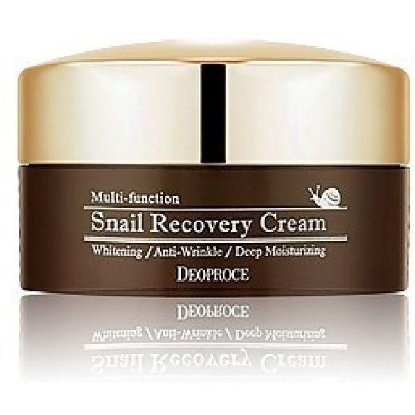 Deoproce Snail Recovery CreamОбогащенный улиточным муцином крем с названием Snail Recovery Cream косметологи компании Deoproce разработали специально для кожи, нуждающейся в восстановлении. Это средство поможет бороться с несовершенствами, а еще оно наполнит кожу жизненной силой и подарит необходимое питание.<br>Улиточный муцин стал достаточно популярным компонентом корейской косметики. Все дело в его универсальности и действенности. Этот эликсир красоты ускоряет клеточную регенерацию, благодаря чему кожа обновляется, становится молодой и свежей. Он также проявляет антибактериальные свойства и одновременно способствует заживлению. С ним любые несовершенства (воспаления, прыщики, ранки) заживают быстро и без проблем. Кроме того, улиточный муцин выравнивает тон и защищает лицо от негативных влияний, приходящих извне.<br>Но «изюминка» этого крема, предназначенного для восстановления кожи, еще и в том, что и без того действенный муцин поддерживают своими многочисленными положительными эффектами травяные экстракты. Японский ямс и портулак огородный, камелия, а также масло ши – все эти ингредиенты несут вашей коже красоту, молодость и жизненную силу.Объём: 100 гСпособ применения:Нанесите крем с улиточным экстрактом на кожу лица как завершающий этап ухода.<br>