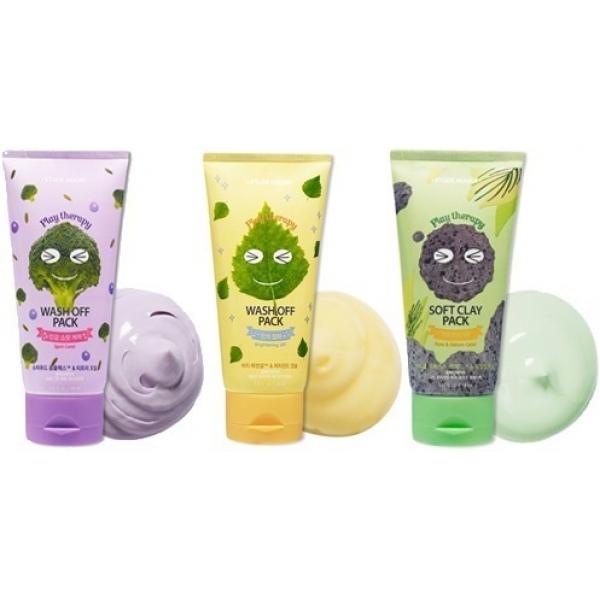 Etude House Play Therapy Wash Off PackСерия превосходных масок, предлагаемых популярным во всем мире брендом Etude House исключительно для решения проблем кожи лица, вы, несомненно, оцените по достоинству. Уникальный, тщательно подобранный состав осветляет, избавляет от прыщей и пигментации, минимизирует выделение жира.<br><br><br>Yellow Brightening! - маска для осветления кожи на основе витамина Е и сока березы. Витамин Е регенерирует ткани, восстанавливает их структуру, отшелушивает кожу. Он также нейтрализует активность пигментов, благодаря чему веснушки и пятна на коже постепенно светлеют и исчезают совсем. Березовый сок, издревле считающийся незаменимым для осветления кожи, превосходно отбеливает кожный покров, делая тон ровным и естественным. Энергия березы передается и коже, помогая ей быстро прийти в тонус, избавляет от назойливых прыщей, покраснений и придает привлекательную матовость.<br>Green Pore Zero Sebum! - маска с натуральной бразильской глиной с берегов Амазонки. Наиболее эффективна для жирной кожи, поскольку великолепно абсорбирует жир и препятствует его избыточной выработке. Глина отлично увлажняет, при этом осуществляя легкий подсушивающий эффект. Это свойство особенно актуально для кожи, страдающей от появления прыщей. Эвкалиптовое масло устраняет различные воспаления и высыпания эпидермиса, проникая глубоко внутрь. Отлично уменьшает поры, освежает и приводит в тонус уставшую кожу. Маска наполняет кожу свежестью, активно справляется с угрями и пятнами.<br>Purple Spot Zero! - эффективная маска против проявлений акне и других высыпаний на коже. Ее формула обогащена маслом чайного дерева, отрубями, экстрактами брокколи и черники, которые питают, многократно увлажняют и очищают. Масло чайного дерева - компонент противовоспалительного действия, снимает неприятный зуд и устраняет раздражения. Экстракт брокколи отвечает за регенерацию кожи, защищает клетки сухости, разрушительных процессов, активно работает против воспалительных реакций. Экстракт черни